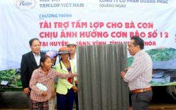 Trao tặng 5.000 tấm lợp cho người dân vùng bão lũ tại tỉnh Khánh Hòa