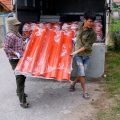 Colorful roofing sheets have reached construction sites of house/school-giving project in the North